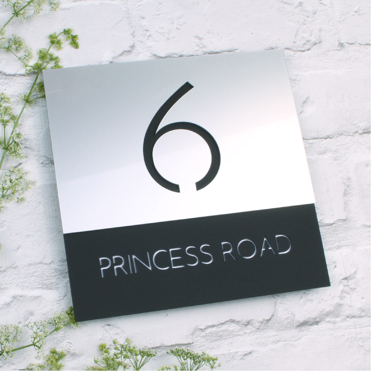 Silver & Black Modern Square Offset Floating House Sign