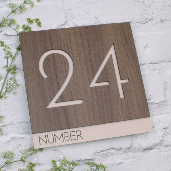 Walnut & Matt Sand Modern Square Offset Floating House Sign