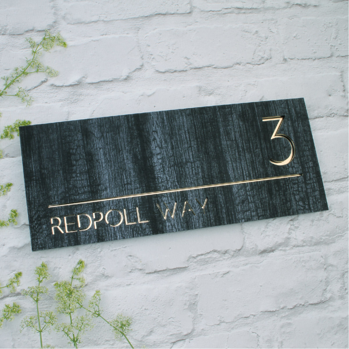 Charred Wood & Mirror Gold Landscape House Sign
