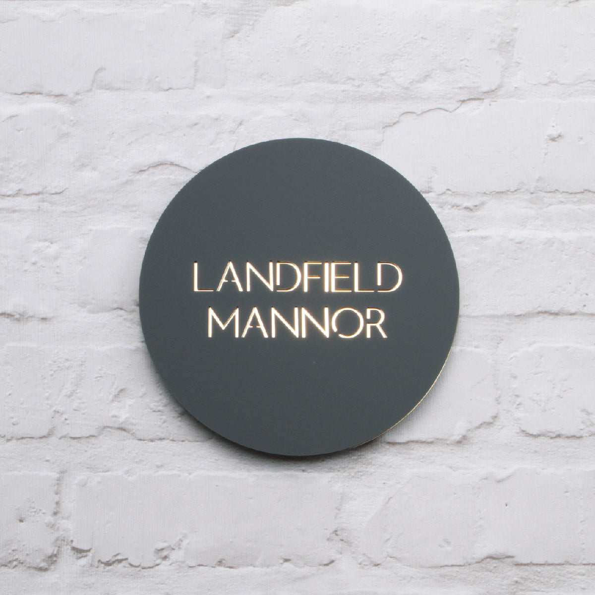 Matt Dark Grey & Gold Mirror Modern Round Floating House Sign