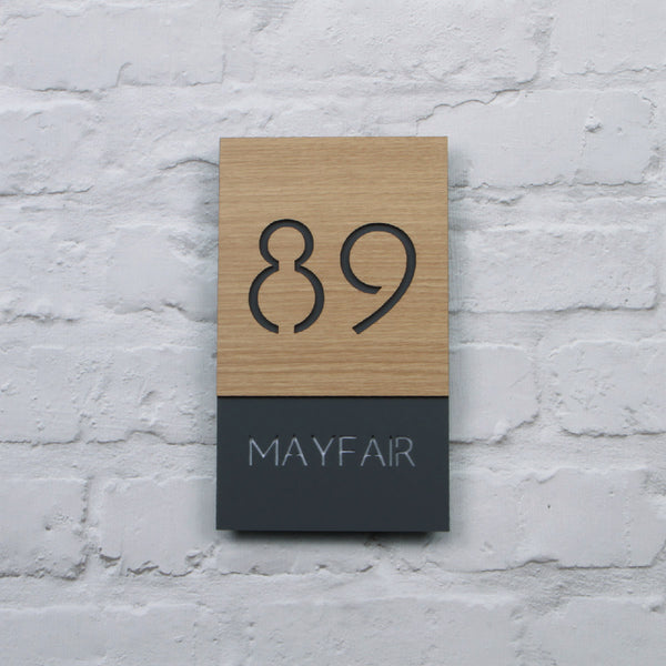 Oak & Dark Grey Modern Portrait Offset Floating House Sign