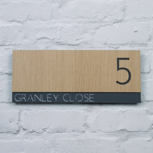 Oak & Dark Grey Modern Landscape Offset Floating House Sign