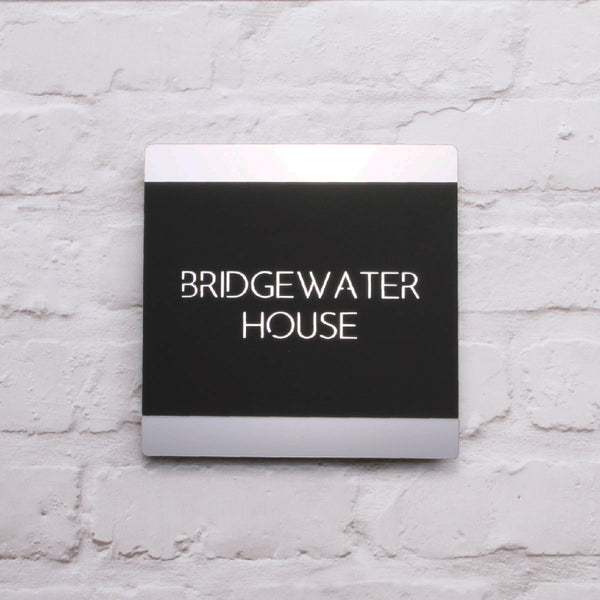 Silver & Black Modern Rounded Square Floating House Sign