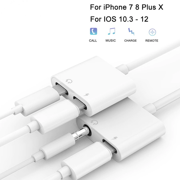 2 In 1 Headphone Adapter For IPhone 8 7 7Plus X Lightning