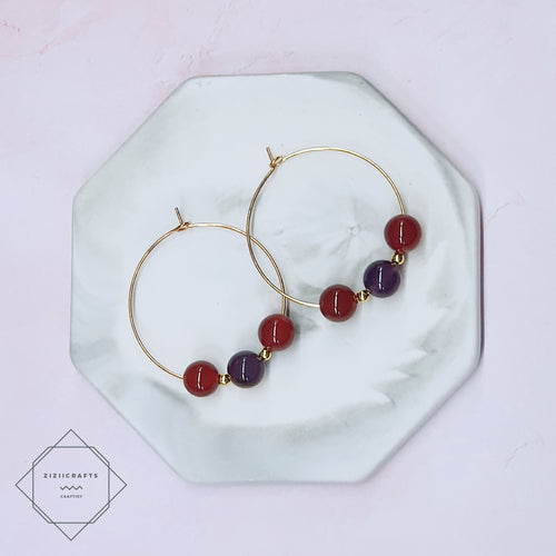 Amethyst, Carnelian Earrings