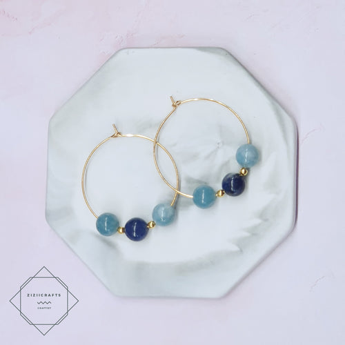 Lapis Lazuli, Aquamarine Earrings