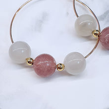 Load image into Gallery viewer, Strawberry Quartz, Moonstone Earrings