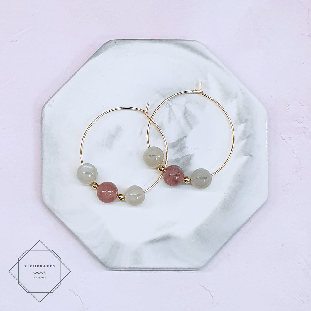 Strawberry Quartz, Moonstone Earrings