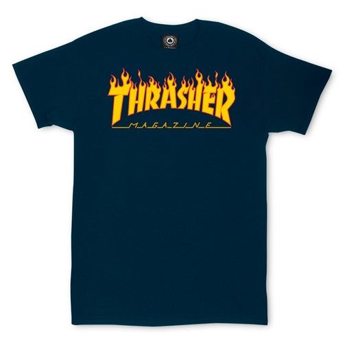 Thrasher Flame Tee - Navy