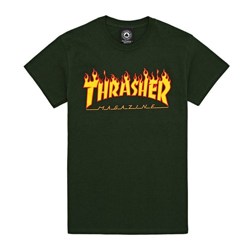 Thrasher Flame Tee - Forest Green