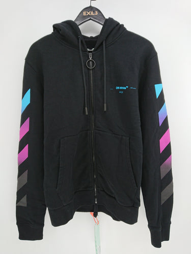 Off White Black Diagonal Gradient Zipped Hoodie