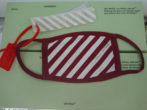 Off White Stripe Mask - Red