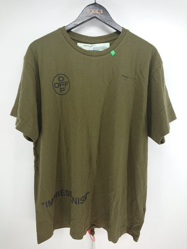 Off White SS19 Diagonal Olive Stencil Tee