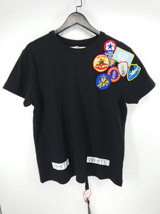 Off White Embroidered Patch Logo Tee