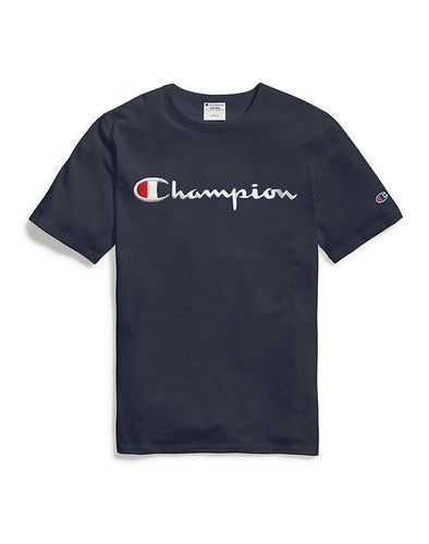 Champion Embroidered Script Tee - Navy