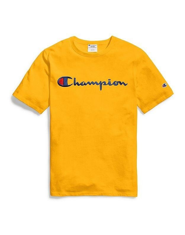Champion Embroidered Script Tee - Yellow