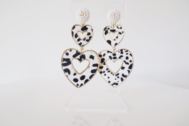 Animal Print Heart Earrings