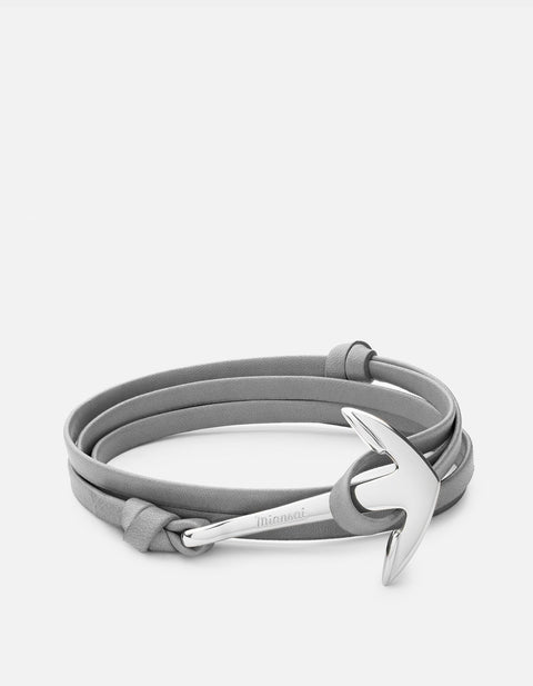 Anchor on Leather Bracelet in Polished Silver - The Edition Shop