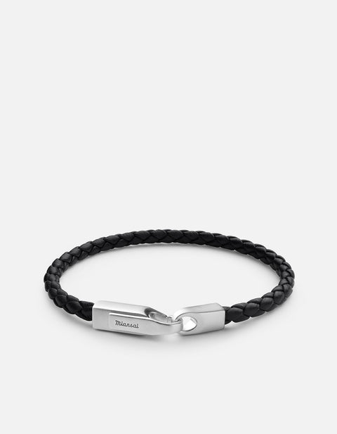 Crew Leather Bracelet in Matte Silver