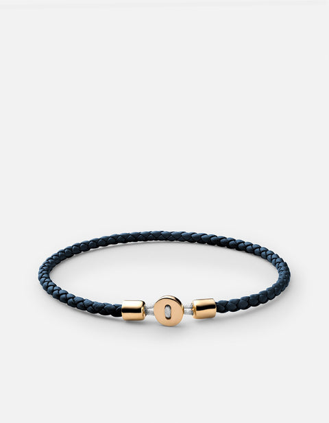 Nexus Leather Bracelet in Navy and Gold Vermeil