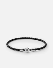 Nexus Leather Bracelet in Black and Sterling Silver