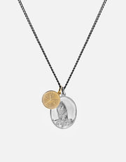 Wolf Pendant Necklace in Sterling Silver and Gold Vermeil