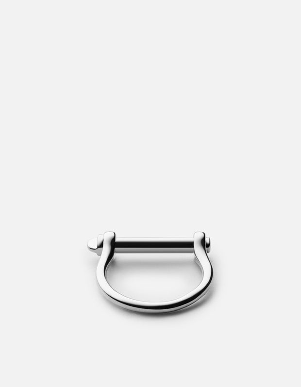 Thin Screw Cuff Ring in Sterling Silver