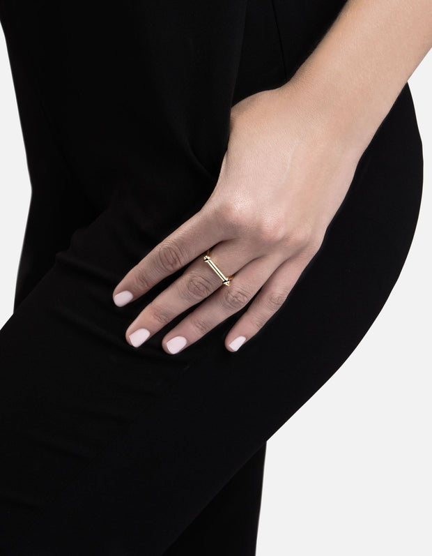 Thin Screw Cuff Ring in Gold Vermeil - The Edition Shop