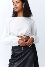 Straight Out Linen Blouse in White Stripe