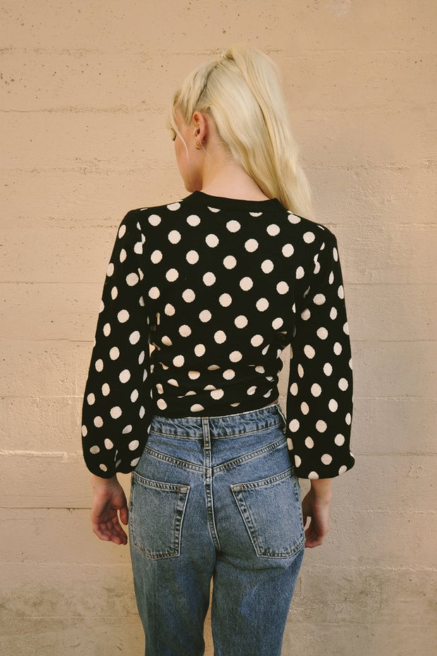 Freya Sweater in Black & Nude Spot