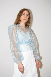 Elsa Top in Feuille Bleu