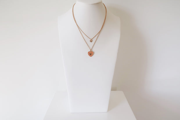 Charmed Heart Enamel Necklace in Peach - The Edition Shop