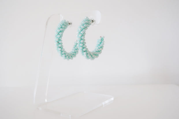 Luxe Beaded Hoops in Mint