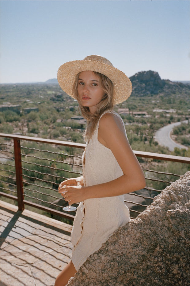 Rico Straw Boater Hat in Natural - The Edition Shop
