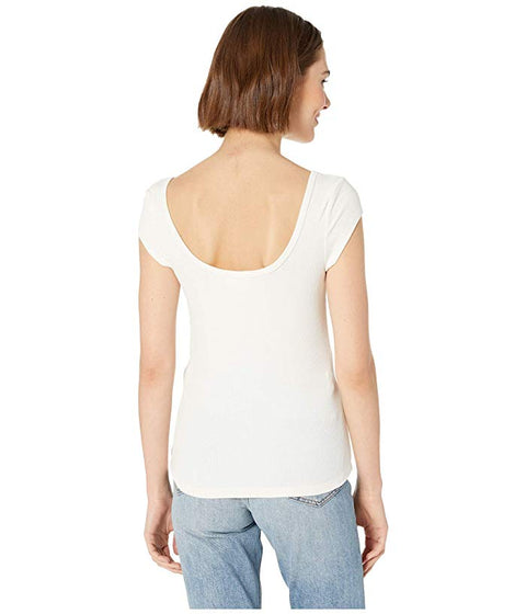 Jolie Ribbed Tee in White - The Edition Shop