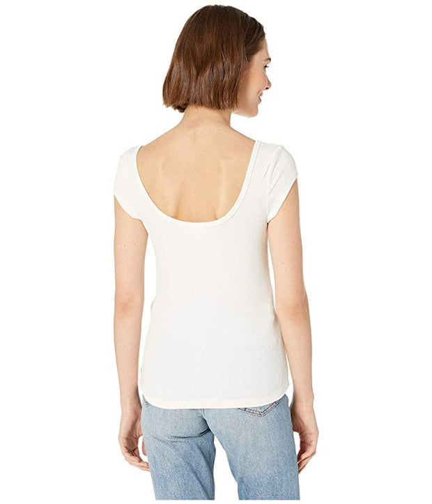 Jolie Ribbed Tee in White