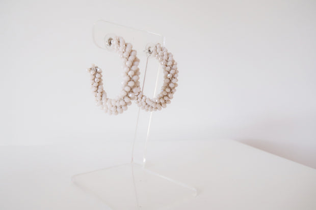 Luxe Beaded Hoops in Ivory