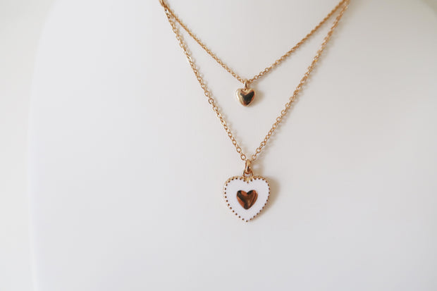 Charmed Heart Enamel Necklace in White