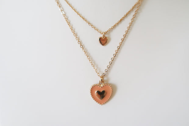 Charmed Heart Enamel Necklace in Peach