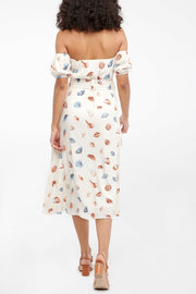 Teagan Belted Midi Dress in Seashell Print