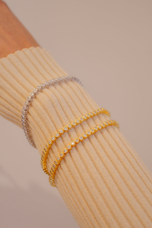 Ballier Bezel Tennis Bracelet in Gold