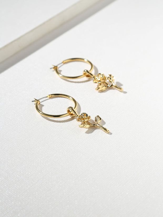 Gold Little Rose Hoops
