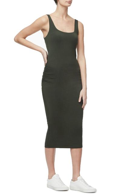 Square Neck Rouched Dress in Olive