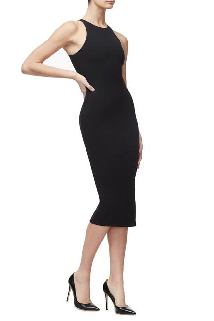 Ribbed Midi Dress in Black