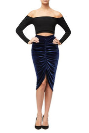 The Luxe Velvet Ruched Skirt - The Edition Shop