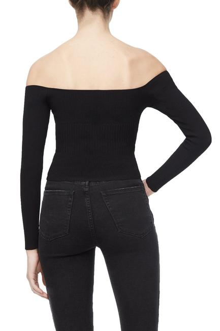 Off Shoulder Knit Top in Black