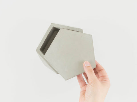 Lidded Concrete Vessel in Grey