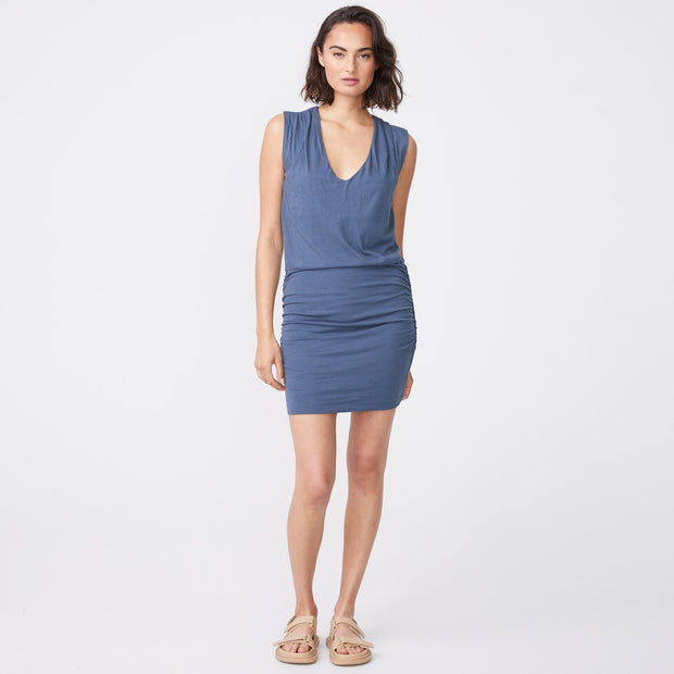 Shirred V Neck Tank Dress