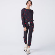 Embroidered Heart Boyfriend Sweater