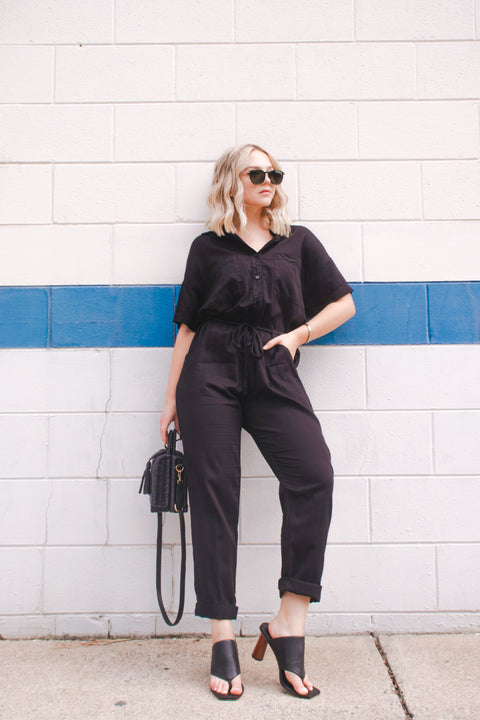 Cotton Short Sleeve Jumpsuit